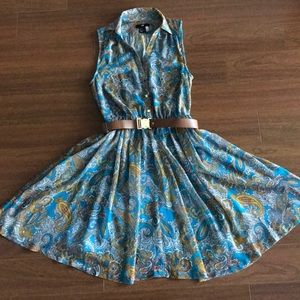 Paisley belted dress with gold buttons